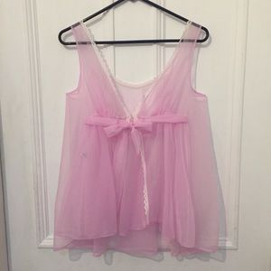 70s Vintage Pink Sheer Babydoll Negligee Nightgown